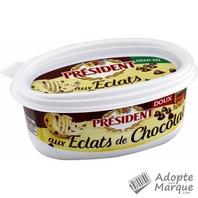 Président Beurre Doux aux éclats de Chocolat - 70%MG La beurrier de 225G