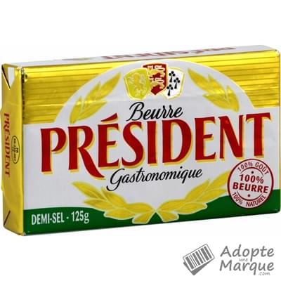 Président Beurre Gastronomique Demi Sel - 80%MG La plaquette de 125G
