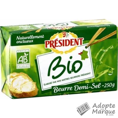 Président Beurre Gastronomique Demi Sel Bio - 80%MG La plaquette de 250G