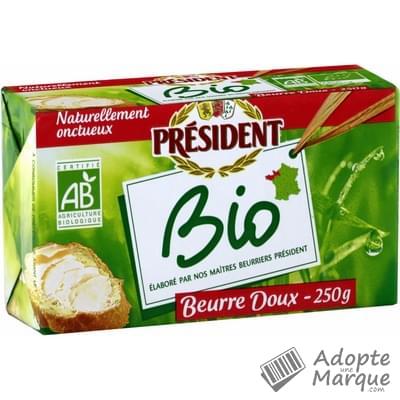 Président Beurre Gastronomique Doux Bio - 82%MG La plaquette de 250G