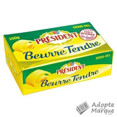 Président Beurre Tendre Demi Sel - 80%MG La plaquette de 250G